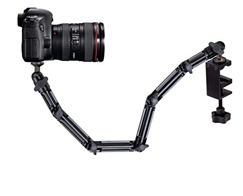 Infuu Holders Kamera-Tisch-Halterung Klemme Zwinge 60cm Camcorder Fotostativ CCTV Metall Kugelkopf neigbar drehbar 041-T stabil bis 2kg (102cm)