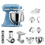 KitchenAid Artisan Küchenmaschine Vintage Blue im Starter-Set inkl. Gemüseschneider, Fleischwolf und vielem Zubehör, 5KSM175PSEVB
