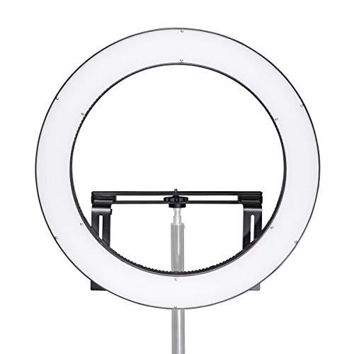 Walimex pro LED Ringleuchte 500 Bi Color, dimmbare Helligkeit regelbare Farbtemperatur, modern und vollwertig ausgestattetes LED Ringlicht, Ø 50 cm, Betrieb per NP-F Akku oder Netzteil