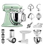 KitchenAid Artisan Küchenmaschine Starter Paket 5KSM175PSEPT inkl. Gemüseschneider Fleischwolf und vielem Zubehör (Pistazie)