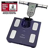 Omron Ganzkörperanalyse-Waage BF511 mit Hand-zu-Fuß-Messung, blau - misst Körperfett, Gewicht, Viszeralfett, Skelettmuskelmasse, Kaloriengrundumsatz und BMI