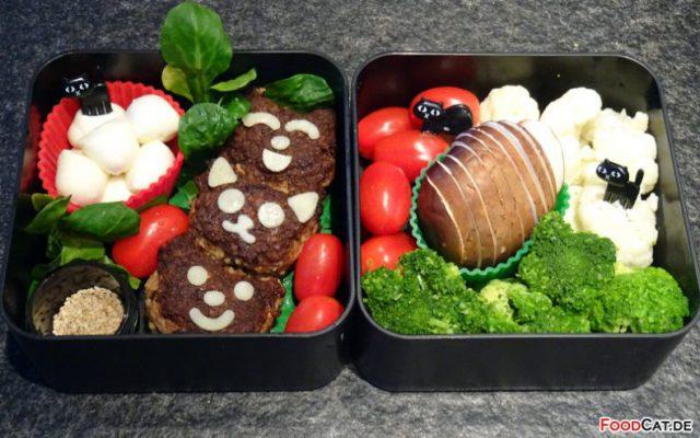Mozzarella-Hackbällchen mit Gemüse Bento